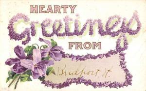 Bridgeport Vermont Hearty Purple Flower Greeting Antique Postcard K95351