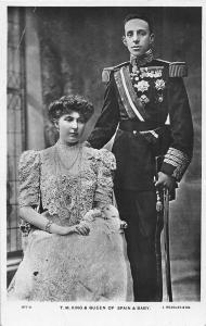King and Queen of Spain Royalty Real Photo Antique Postcard J53604