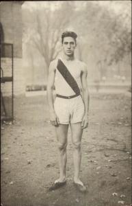 Runner Uniform Shorts Old Shoes c1910 Crisp Real Photo Postcard - Running