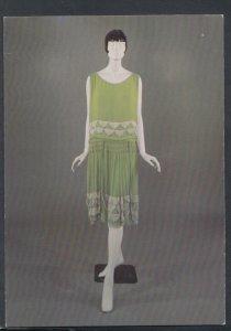 Fashion Postcard - Glasgow Museum - Apple Green Silk Crepe Evening Dress T8350