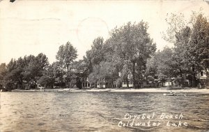 G21/ Coldwater Michigan RPPC Postcard 1936 Lake Crystal Beach Cottages