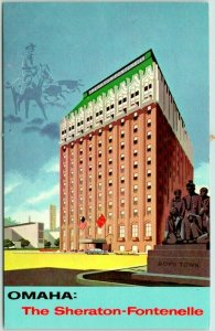 Omaha, Nebraska Postcard SHERATON-FONTENELLE HOTEL Street View / Dated 1968
