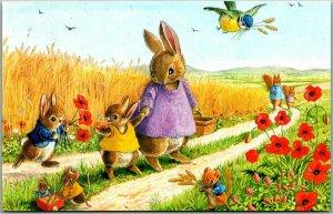 Vintage Artist-Signed RACEY HELPS Postcard Dressed Rabbits - Mother / 2 Children