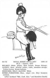 Military Royal Horse Artillery 1804-15 No. 3 - Gunner 1812