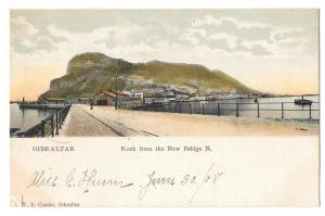 Gibraltar Rock from the New Bridge V B Cumbo Postcard
