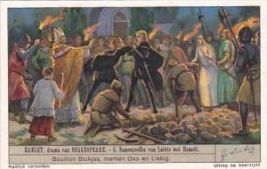 Liebig Vintage Trade Card S1327 Hamlet 1936 No 5 Samentreffen van Laerte met ...