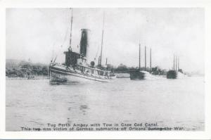 RPPC Tug Perth Amboy with Tow after WWI German Sub Attack Cape Cod Massachusetts