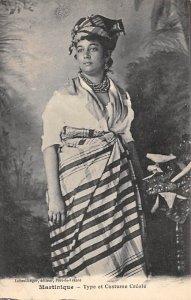 Martinique Post card Old Vintage Antique Postcard Type et Costume Creole Unused
