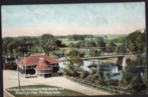 Maine PORTLAND Boat House and Presumpscot River Riverton Park Greetings - Und/B