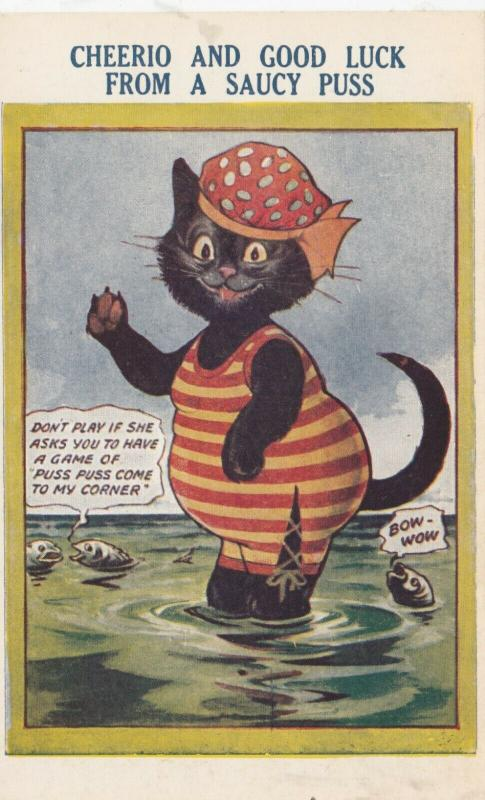 COMICS; 1920-30s; Black Cat in bathing suit, Talking Fish