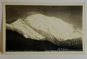 Vintage Postcard Mt McKinley black & white photo approved by theatre censor snow