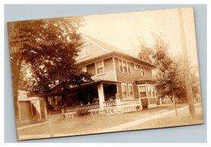 Vintage 1900's RPPC Postcard Craftsman Style Emporia Kansas Residential Home