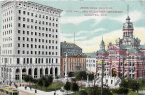 Union Bank Building, City Hall & Volunteer Monument, Winnipeg, Manitoba, Cana...