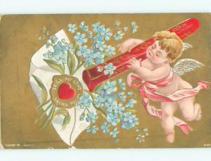 Pre-Linen valentine CUPID PUTS WAX SEAL ON FORGET-ME-NOT FLOWERS J1049