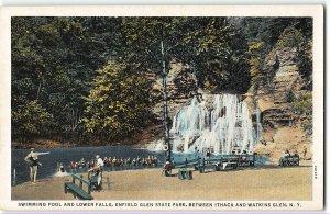 Swimming Pool, Lower Falls, Enfield Glen State Park Ithaca & Watkins Glen c1930s