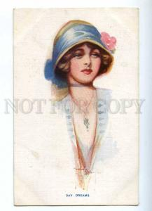 187181 DAY DREAMS Female Head in BLUE Vintage Carlton postcard