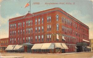 Moline Illinois~Manufacturers Hotel~Shop Awnings~Barber Shop Pole~1910 Postcard