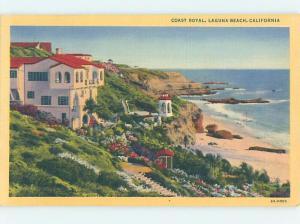 Linen BEACH SCENE Laguna Beach - Near Irvine & Anaheim California CA G6223