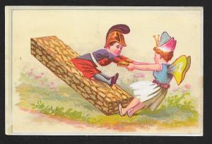 VICTORIAN TRADE CARD Fairy Girl & Military Dressed Boy