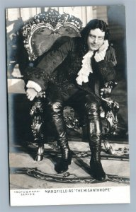 THEATRE ACTOR RICHARD MANSFIELD AS MISANTHROPE ANTIQUE REAL PHOTO POSTCARD RPPC