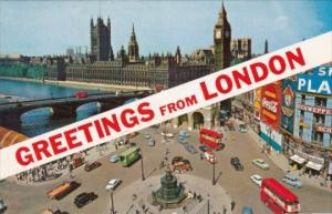 Greetings From London Showing Piccadilly Circus & Parliament Buildings