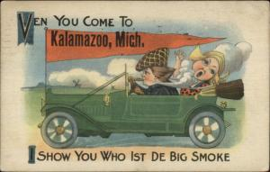 Kalamazoo MI Dutch Auto Car Pennant Greeting c1915 Postcard #1