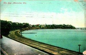 Vtg Carte Postale 1908 L' Bay Milwaukee, Wisconsin Vue De Littoral Chemin Pistes