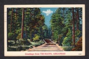 AR Greetings from TRUMANN ARKANSAS Postcard Linen PC