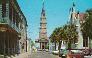 South Carolina Charleston Church Street Showing Original St Philip's Church