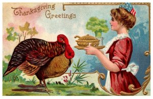 Thanksgiving ,  Turkey ,, maid serving soup