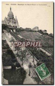 Old Postcard Paris Basilique du Sacre Coeur and Montmartre Funicular
