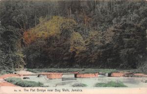 The Flat Bridge Near Bog Walk, Jamaica, Early Hand Colored Postcard, Unused