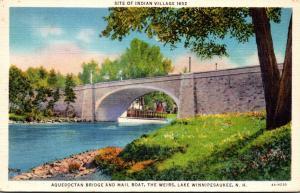 New Hampshire Lake Winnipesaukee The Weirs Aquedoctan Bridge and Mail Boat 19...