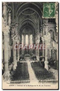 Postcard Old Lyon Interior of the Basilica of N D Fourviere