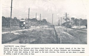 Electricity vs Steam - Rochester Rapid Rail and New York Central Train - Reprint