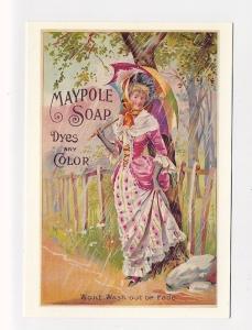 ad842 - advert for Maypole soap - woman & umbrella - art-postcard