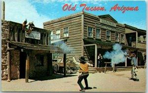1960s OLD TUCSON Arizona Postcard Old West Western Movie Set Gunfight Scene