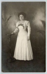 RPPC Forty-Something Woman in White Edwardian Dress~No Hat~Chevron Neckline~1914