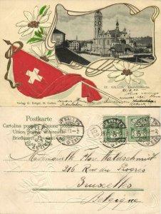 switzerland, St. GALLEN, Linsenbühlkirche, National Flag 1903 Embossed Postcard