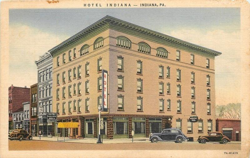 Indiana Pennsylvania~Hotel Indiana~Grill~Duquesne Beer~1937 Linen Postcard