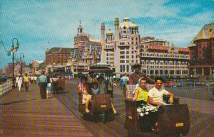 New Jersey Atlantic City Rolling Chairs On The Boardwalk 1966