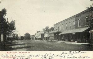 Vintage Postcard Main Street scene Arlington IA Fayette County, Iowa