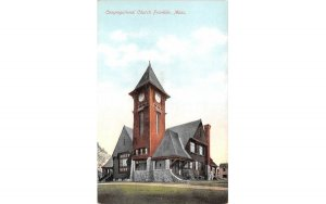 Congregational Church  Franklin, Massachusetts Postcard