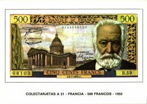france, Cinq Cents 500 Francs 1955, BANKNOTES Modern Money Postcard