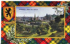Scotland Postcard - Badge of Buchanan - Edinburgh from The Castle  DP666
