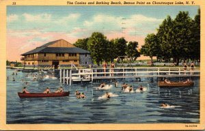 New York Chautauqua Lake Bemus Point The Casino and Bathing Beach 1951 Curteich