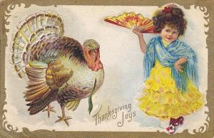 Thanksgiving Greetings Young Girl With Turkey 1909