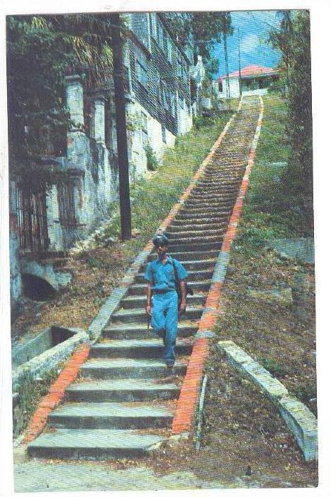 Ninety-Nine Steps A famous street in St. Thomas, Virgin Islands, U.S.A.,   ...