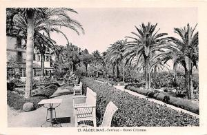Spain Old Vintage Antique Post Card Terrace Hotel Cristina Algeciras Unused