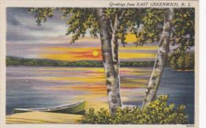 Rhode Island East Greenwich Greetings From With Lakefront Scene